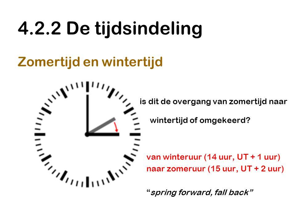 4.2.2 De tijdsindeling Zomertijd en wintertijd is dit de overgang van zomertijd naar wintertijd of omgekeerd? van winteruur (14 uur, UT + 1 uur) naar