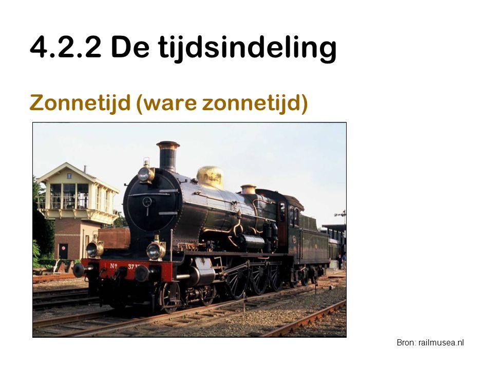 4.2.2 De tijdsindeling Zonnetijd (ware zonnetijd) Bron: railmusea.nl