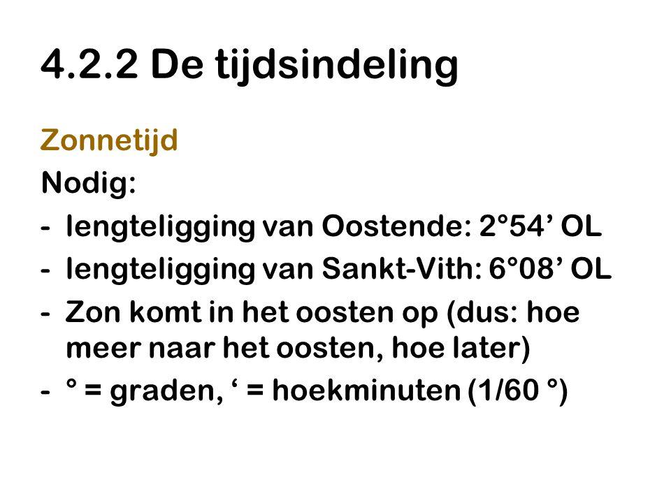4.2.2 De tijdsindeling Zonnetijd Nodig: -lengteligging van Oostende: 2°54' OL -lengteligging van Sankt-Vith: 6°08' OL -Zon komt in het oosten op (dus: