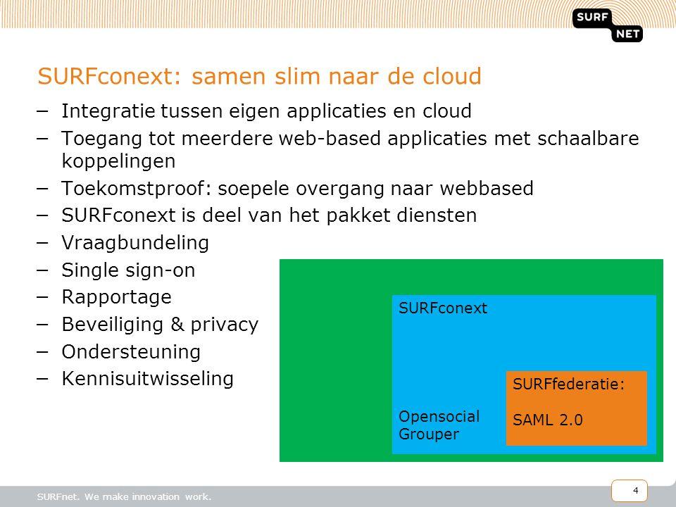 4 SURFconext: samen slim naar de cloud −Integratie tussen eigen applicaties en cloud −Toegang tot meerdere web-based applicaties met schaalbare koppelingen −Toekomstproof: soepele overgang naar webbased −SURFconext is deel van het pakket diensten −Vraagbundeling −Single sign-on −Rapportage −Beveiliging & privacy −Ondersteuning −Kennisuitwisseling SURFconext Opensocial Grouper SURFfederatie: SAML 2.0