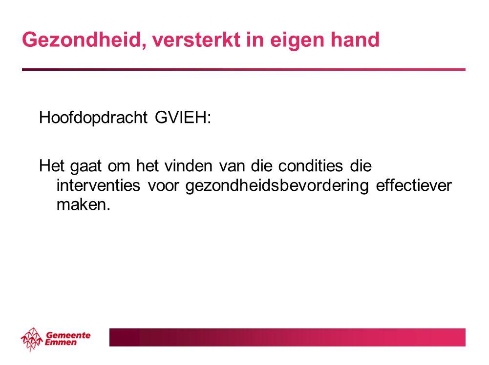 Gezondheid, versterkt in eigen hand Hoofdopdracht GVIEH: Het gaat om het vinden van die condities die interventies voor gezondheidsbevordering effecti