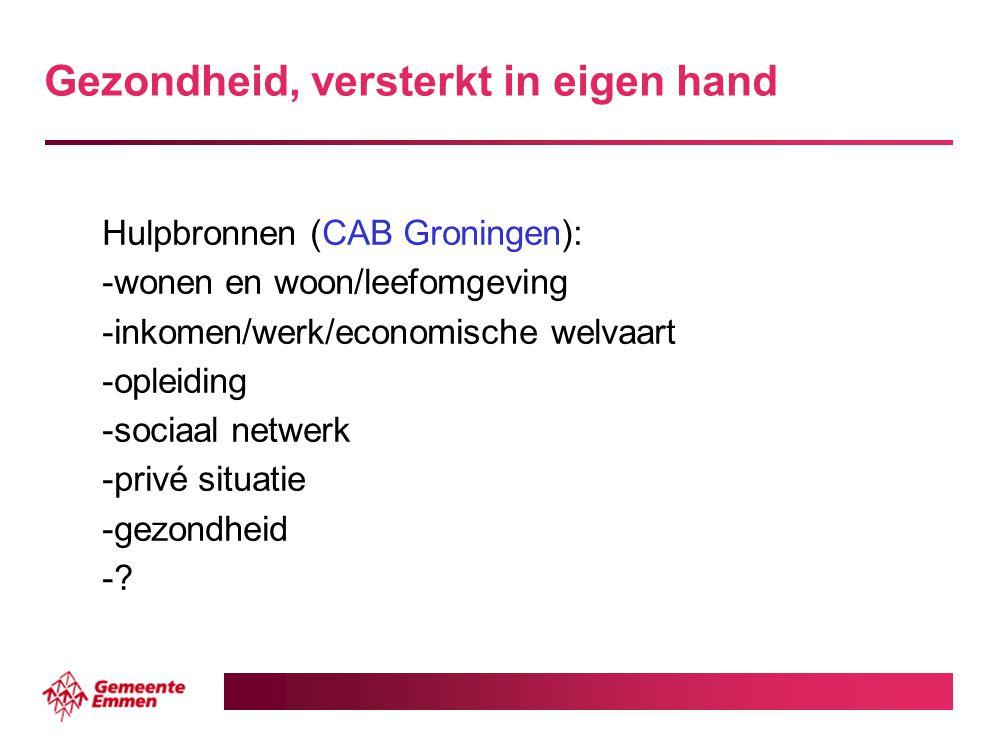 Gezondheid, versterkt in eigen hand Hulpbronnen (CAB Groningen): -wonen en woon/leefomgeving -inkomen/werk/economische welvaart -opleiding -sociaal ne