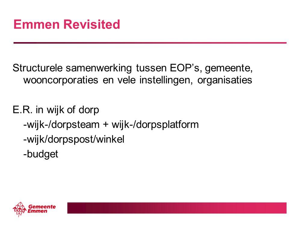 Emmen Revisited Structurele samenwerking tussen EOP's, gemeente, wooncorporaties en vele instellingen, organisaties E.R. in wijk of dorp -wijk-/dorpst