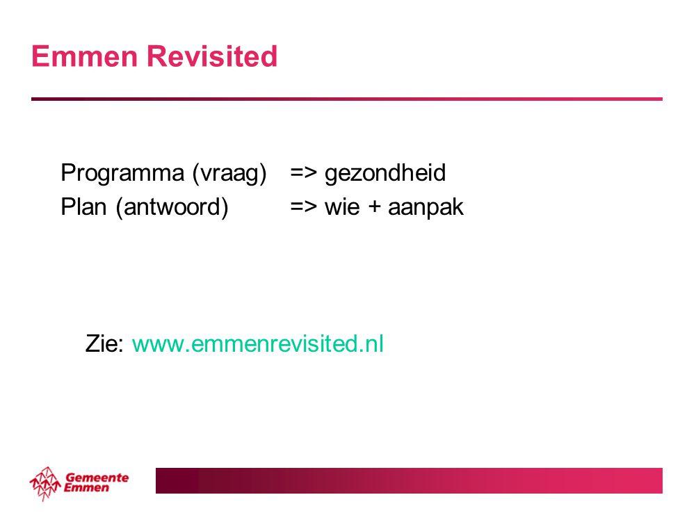 Emmen Revisited Programma(vraag)=> gezondheid Plan (antwoord)=> wie + aanpak Zie: www.emmenrevisited.nl