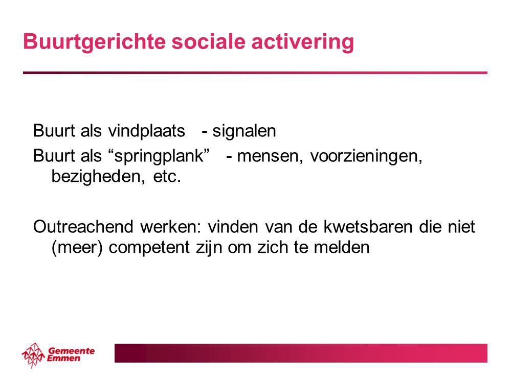 """Buurtgerichte sociale activering Buurt als vindplaats- signalen Buurt als """"springplank""""- mensen, voorzieningen, bezigheden, etc. Outreachend werken: v"""