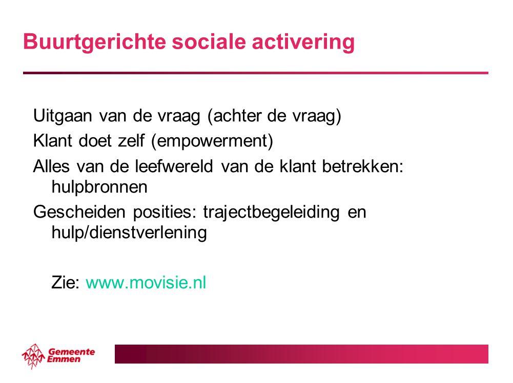Buurtgerichte sociale activering Uitgaan van de vraag (achter de vraag) Klant doet zelf (empowerment) Alles van de leefwereld van de klant betrekken: