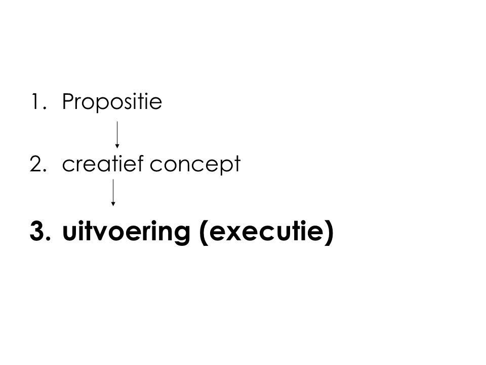 1.Propositie 2.creatief concept 3.uitvoering (executie)