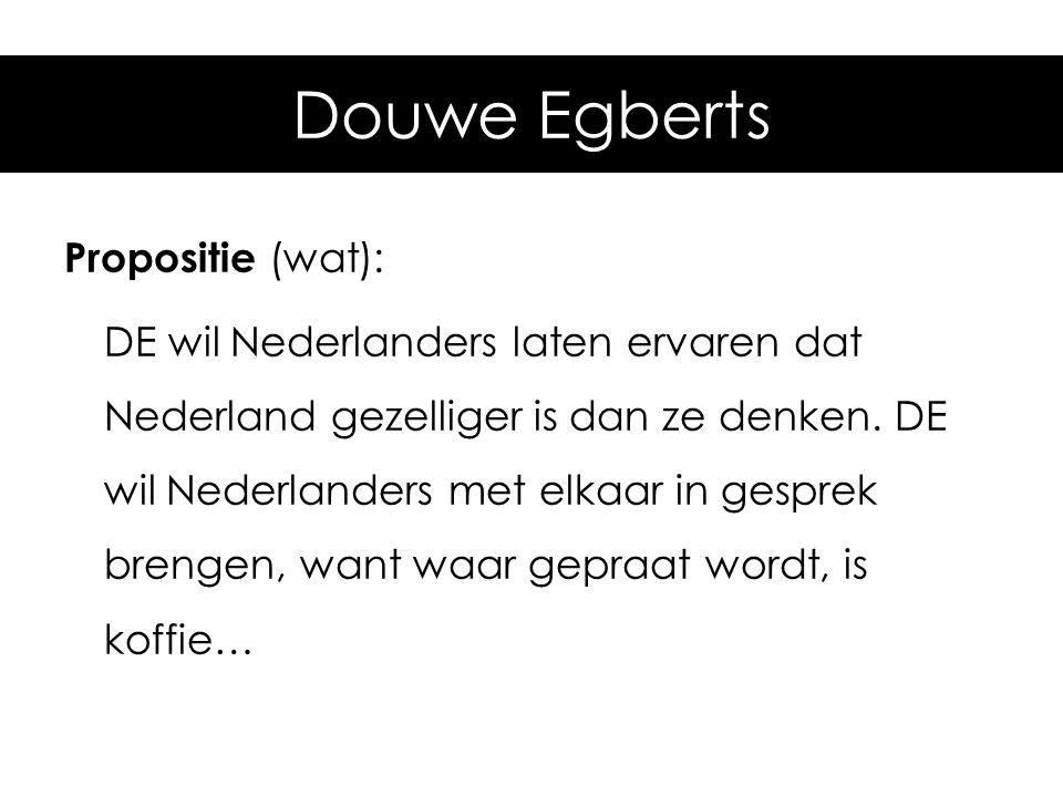 Voorbeeld: Douwe Egberts Propositie (wat): DE wil Nederlanders laten ervaren dat Nederland gezelliger is dan ze denken. DE wil Nederlanders met elkaar