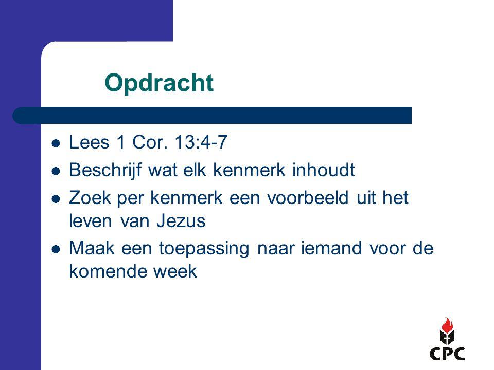 Opdracht  Lees 1 Cor.