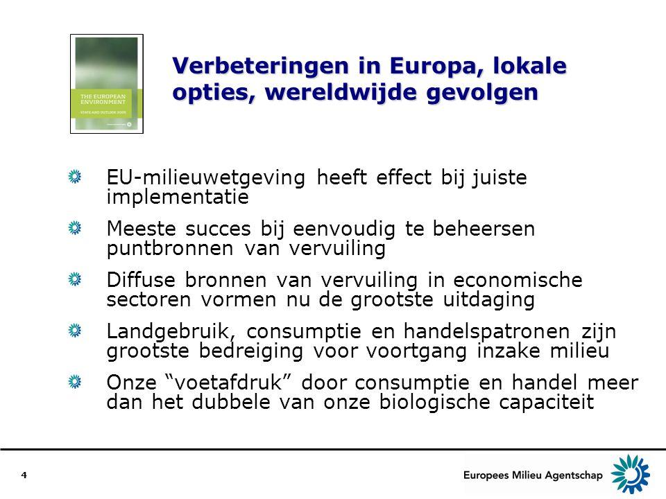 4 Verbeteringen in Europa, lokale opties, wereldwijde gevolgen EU-milieuwetgeving heeft effect bij juiste implementatie Meeste succes bij eenvoudig te beheersen puntbronnen van vervuiling Diffuse bronnen van vervuiling in economische sectoren vormen nu de grootste uitdaging Landgebruik, consumptie en handelspatronen zijn grootste bedreiging voor voortgang inzake milieu Onze voetafdruk door consumptie en handel meer dan het dubbele van onze biologische capaciteit