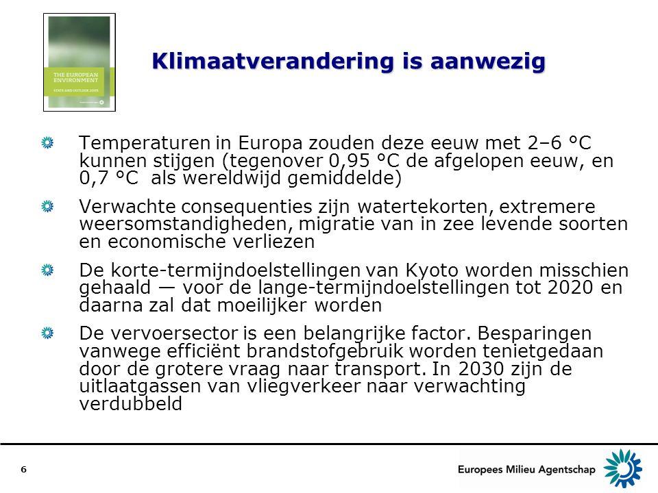 6 Klimaatverandering is aanwezig Temperaturen in Europa zouden deze eeuw met 2–6 °C kunnen stijgen (tegenover 0,95 °C de afgelopen eeuw, en 0,7 °C als wereldwijd gemiddelde) Verwachte consequenties zijn watertekorten, extremere weersomstandigheden, migratie van in zee levende soorten en economische verliezen De korte-termijndoelstellingen van Kyoto worden misschien gehaald — voor de lange-termijndoelstellingen tot 2020 en daarna zal dat moeilijker worden De vervoersector is een belangrijke factor.