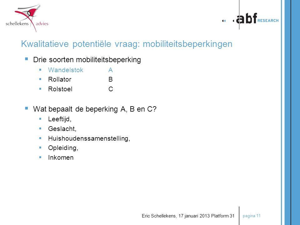pagina 11 Eric Schellekens, 17 januari 2013 Platform 31 Kwalitatieve potentiële vraag: mobiliteitsbeperkingen  Drie soorten mobiliteitsbeperking  Wa