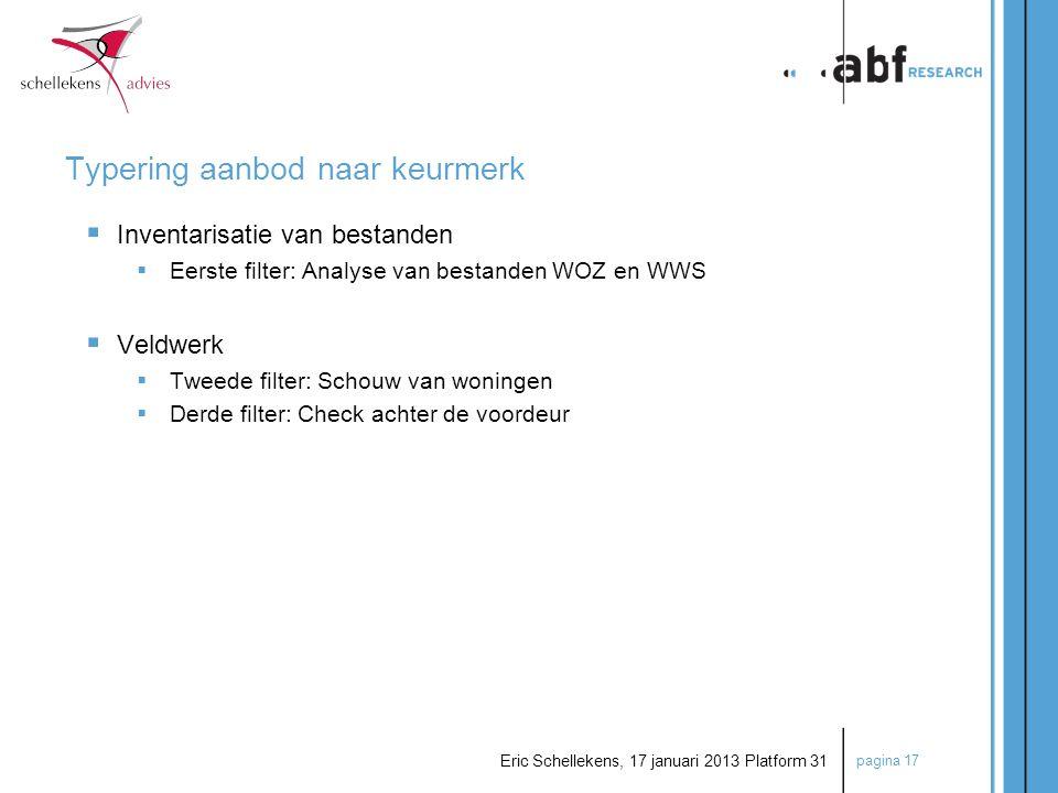 pagina 17 Eric Schellekens, 17 januari 2013 Platform 31  Inventarisatie van bestanden  Eerste filter: Analyse van bestanden WOZ en WWS  Veldwerk 