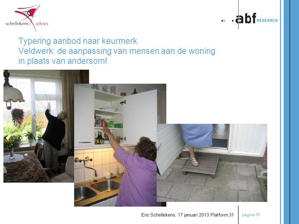 pagina 19 Eric Schellekens, 17 januari 2013 Platform 31 Typering aanbod naar keurmerk. Veldwerk: de aanpassing van mensen aan de woning in plaats van