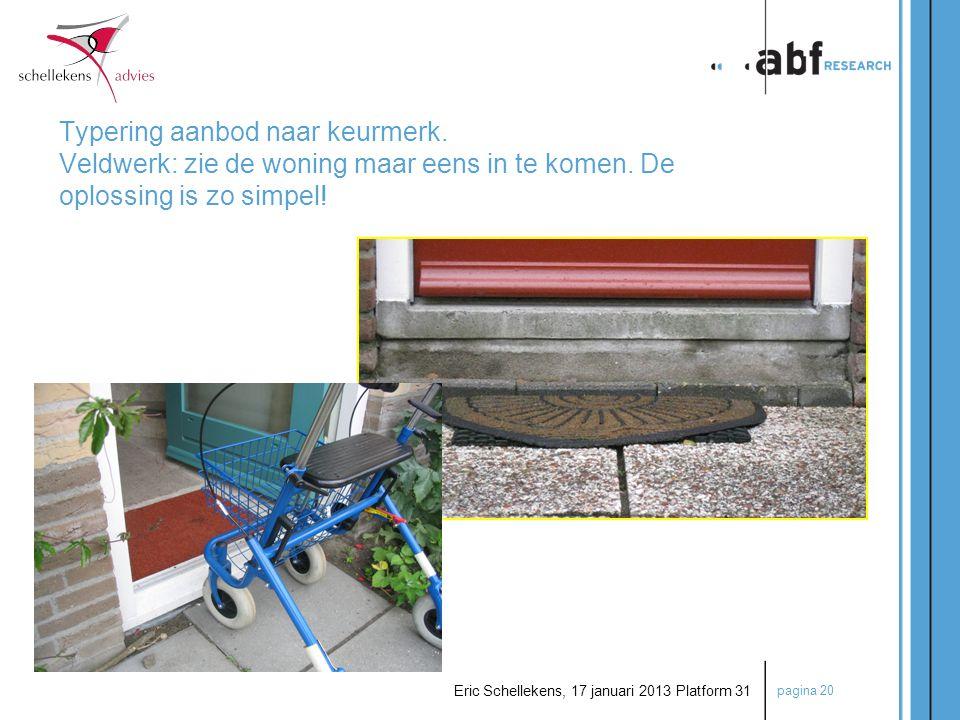 pagina 20 Eric Schellekens, 17 januari 2013 Platform 31 Typering aanbod naar keurmerk. Veldwerk: zie de woning maar eens in te komen. De oplossing is
