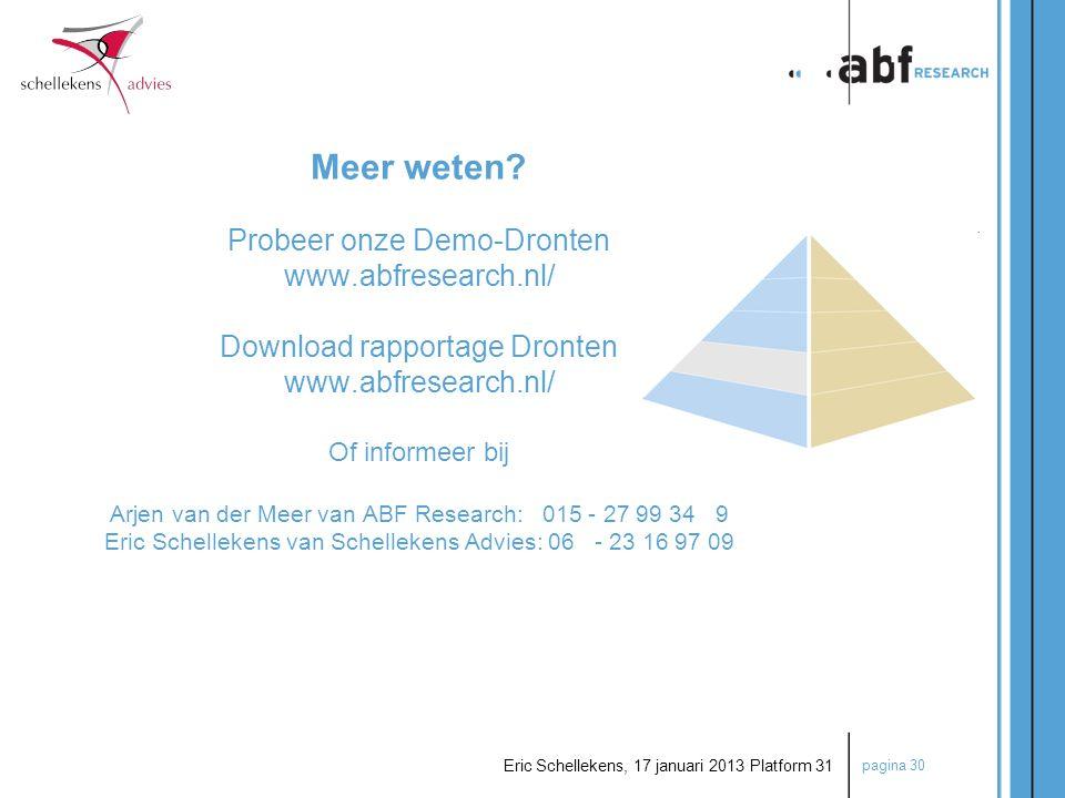 pagina 30 Eric Schellekens, 17 januari 2013 Platform 31 Meer weten? Probeer onze Demo-Dronten www.abfresearch.nl/ Download rapportage Dronten www.abfr
