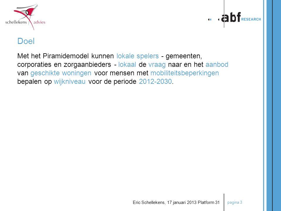 pagina 3 Eric Schellekens, 17 januari 2013 Platform 31 Doel Met het Piramidemodel kunnen lokale spelers - gemeenten, corporaties en zorgaanbieders - l