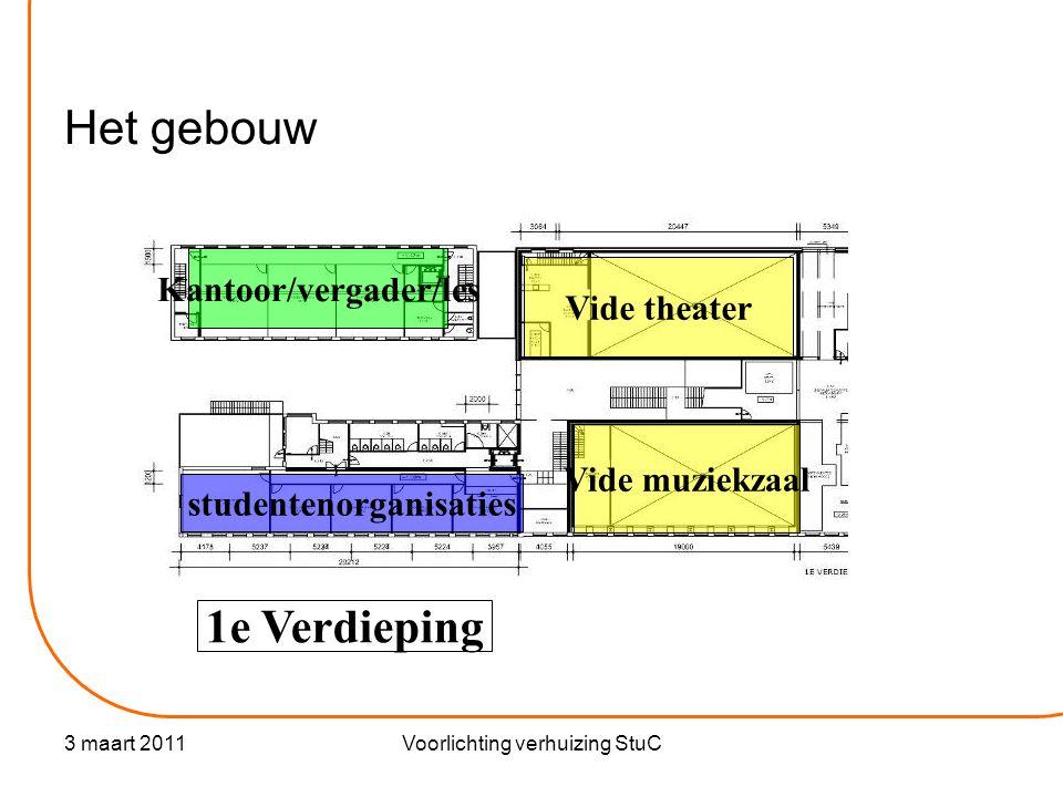 3 maart 2011Voorlichting verhuizing StuC Het gebouw 1e Verdieping studentenorganisaties Kantoor/vergader/les Vide theater Vide muziekzaal