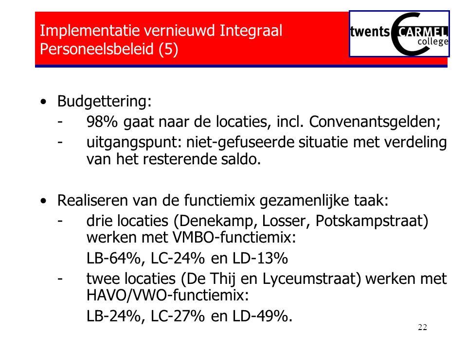 22 Implementatie vernieuwd Integraal Personeelsbeleid (5) •Budgettering: - 98% gaat naar de locaties, incl.