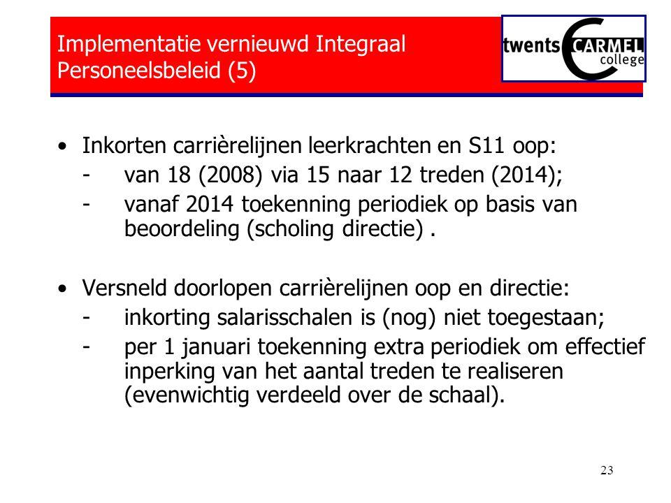 23 Implementatie vernieuwd Integraal Personeelsbeleid (5) •Inkorten carrièrelijnen leerkrachten en S11 oop: - van 18 (2008) via 15 naar 12 treden (2014); - vanaf 2014 toekenning periodiek op basis van beoordeling (scholing directie).