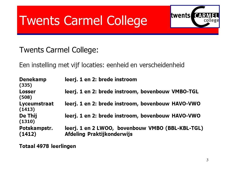 3 Twents Carmel College Twents Carmel College: Een instelling met vijf locaties: eenheid en verscheidenheid Denekampleerj.