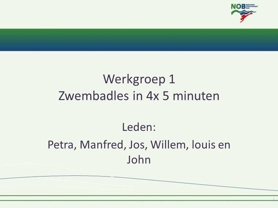 Werkgroep 1 Zwembadles in 4x 5 minuten Leden: Petra, Manfred, Jos, Willem, louis en John
