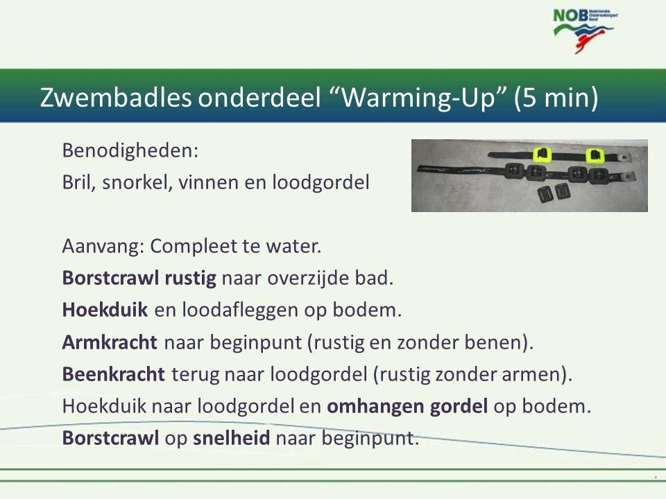 Benodigheden: Bril, snorkel, vinnen en loodgordel Aanvang: Compleet te water.