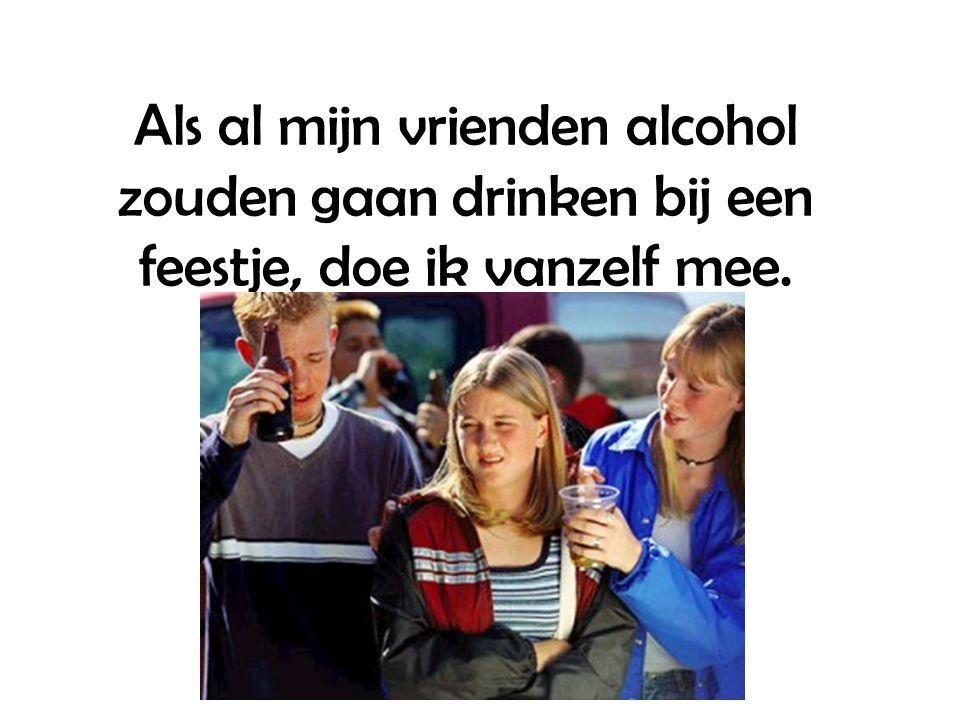 Als al mijn vrienden alcohol zouden gaan drinken bij een feestje, doe ik vanzelf mee.