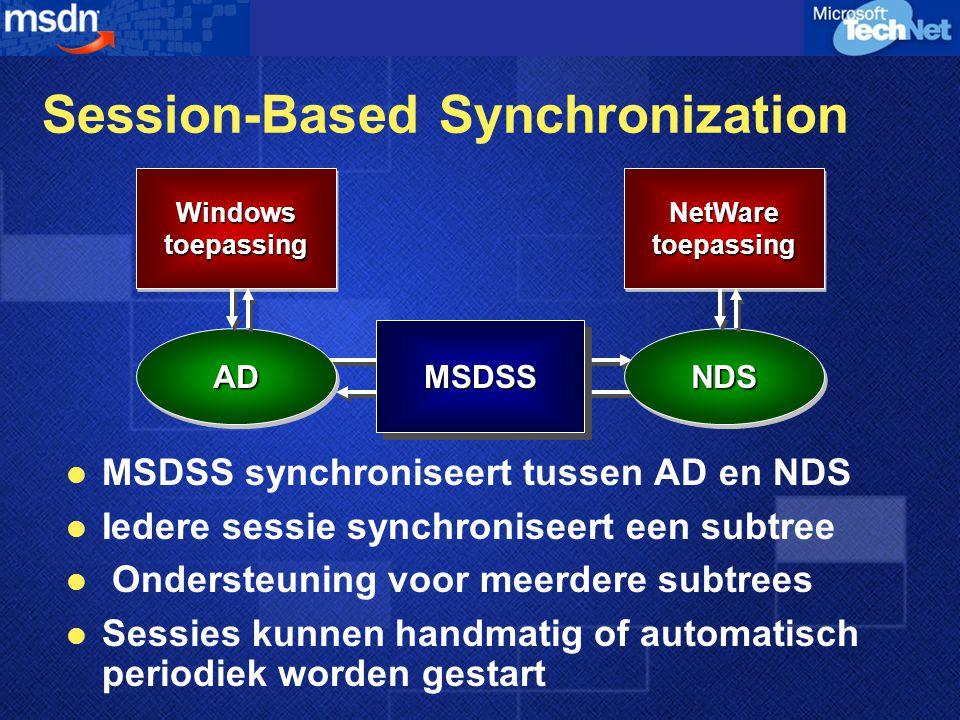Session-Based Synchronization  MSDSS synchroniseert tussen AD en NDS  Iedere sessie synchroniseert een subtree  Ondersteuning voor meerdere subtrees  Sessies kunnen handmatig of automatisch periodiek worden gestart MSDSSMSDSS ADADNDSNDS WindowstoepassingWindowstoepassingNetWaretoepassingNetWaretoepassing