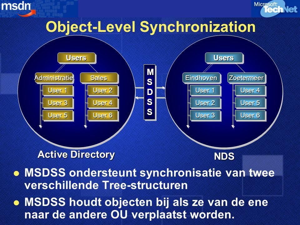 Object-Level Synchronization  MSDSS ondersteunt synchronisatie van twee verschillende Tree-structuren  MSDSS houdt objecten bij als ze van de ene naar de andere OU verplaatst worden.