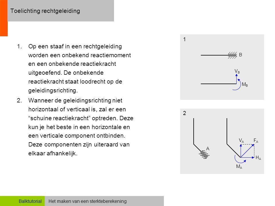 Het maken van een sterkteberekeningBalktutorial Toelichting rechtgeleiding 1.Op een staaf in een rechtgeleiding worden een onbekend reactiemoment en e