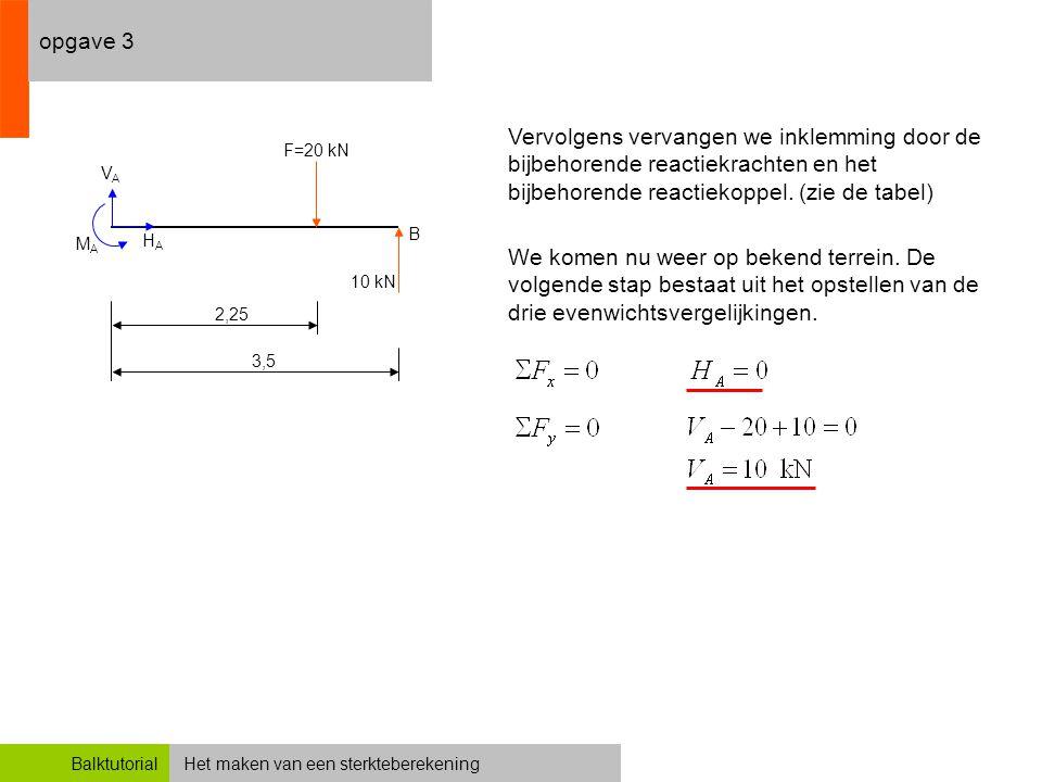 Het maken van een sterkteberekeningBalktutorial opgave 3 Vervolgens vervangen we inklemming door de bijbehorende reactiekrachten en het bijbehorende r