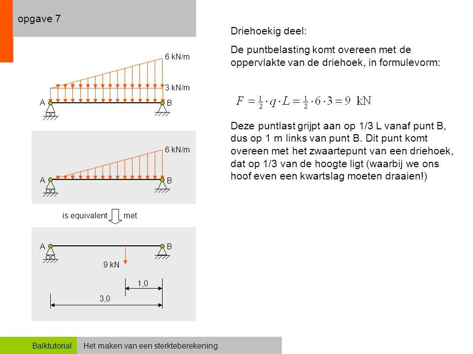Het maken van een sterkteberekeningBalktutorial opgave 7 3,0 Driehoekig deel: De puntbelasting komt overeen met de oppervlakte van de driehoek, in for