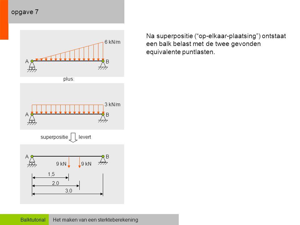 """Het maken van een sterkteberekeningBalktutorial opgave 7 3,0 Na superpositie (""""op-elkaar-plaatsing"""") ontstaat een balk belast met de twee gevonden equ"""