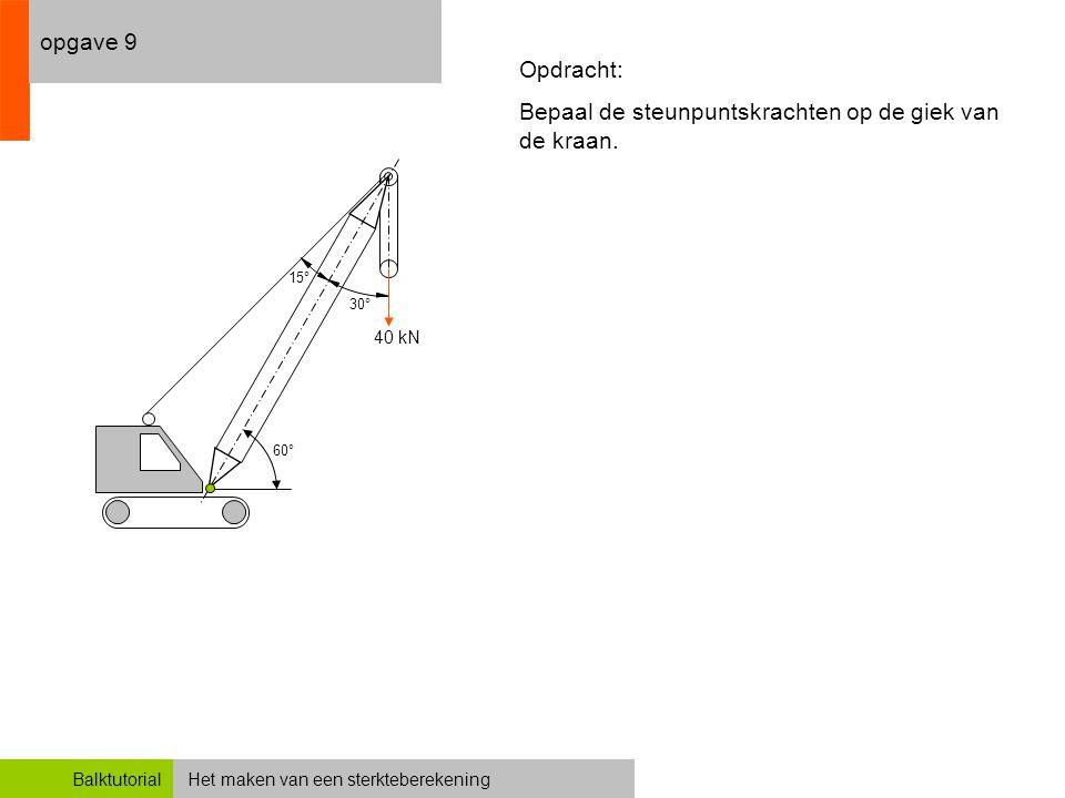Het maken van een sterkteberekeningBalktutorial opgave 9 60° 30° 15° 40 kN Opdracht: Bepaal de steunpuntskrachten op de giek van de kraan.