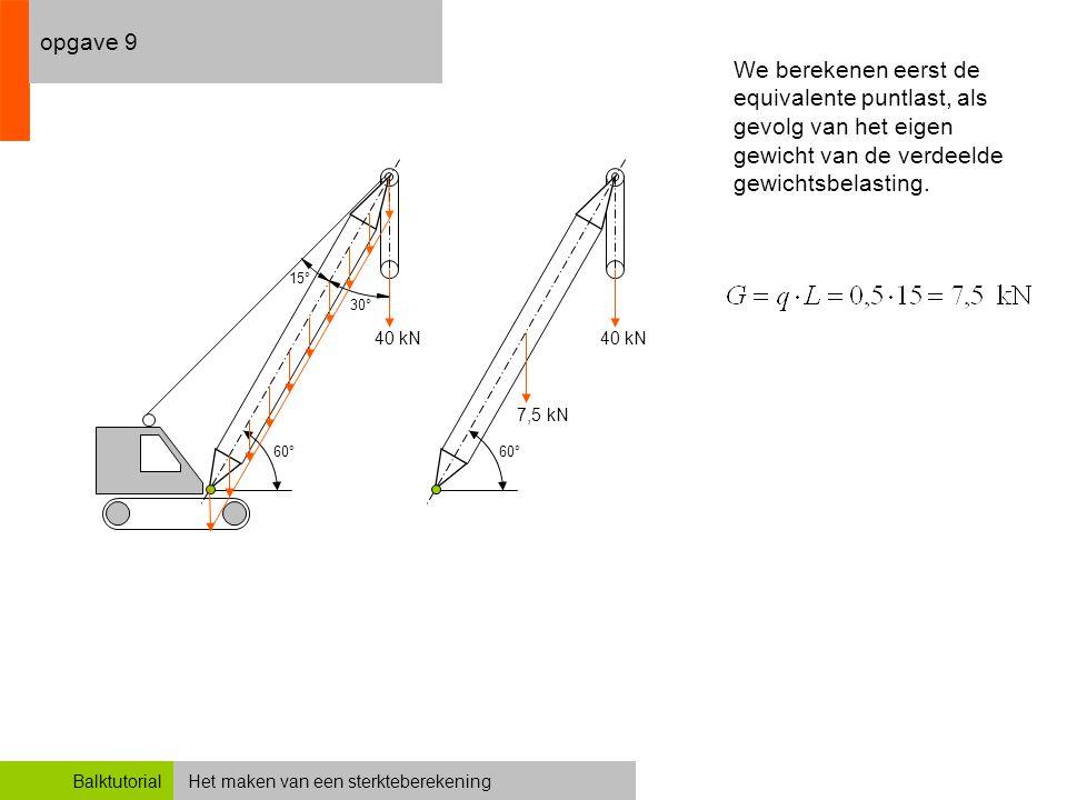 Het maken van een sterkteberekeningBalktutorial opgave 9 60° 30° 15° 40 kN 60° 40 kN We berekenen eerst de equivalente puntlast, als gevolg van het ei
