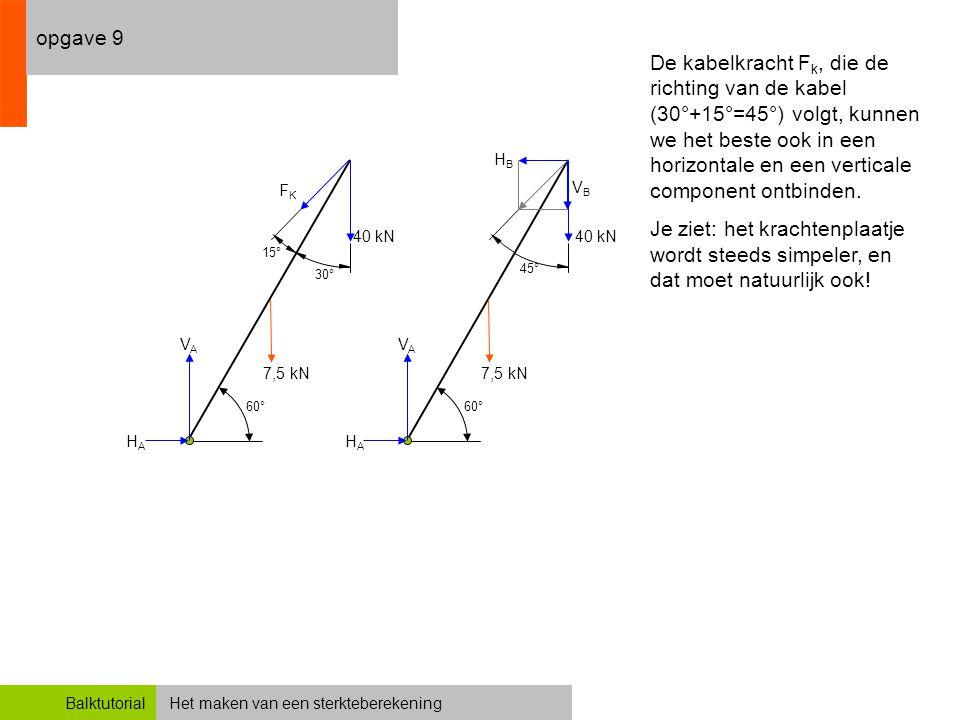 Het maken van een sterkteberekeningBalktutorial opgave 9 De kabelkracht F k, die de richting van de kabel (30°+15°=45°) volgt, kunnen we het beste ook