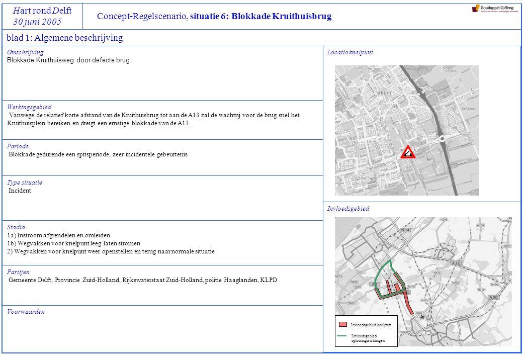 Concept-Regelscenario, situatie 6: Blokkade Kruithuisbrug Hart rond Delft 30 juni 2005 Omschrijving Blokkade Kruithuisweg door defecte brug Werkingsgebied Vanwege de relatief korte afstand van de Kruithuisbrug tot aan de A13 zal de wachtrij voor de brug snel het Kruithuisplein bereiken en dreigt een ernstige blokkade van de A13.