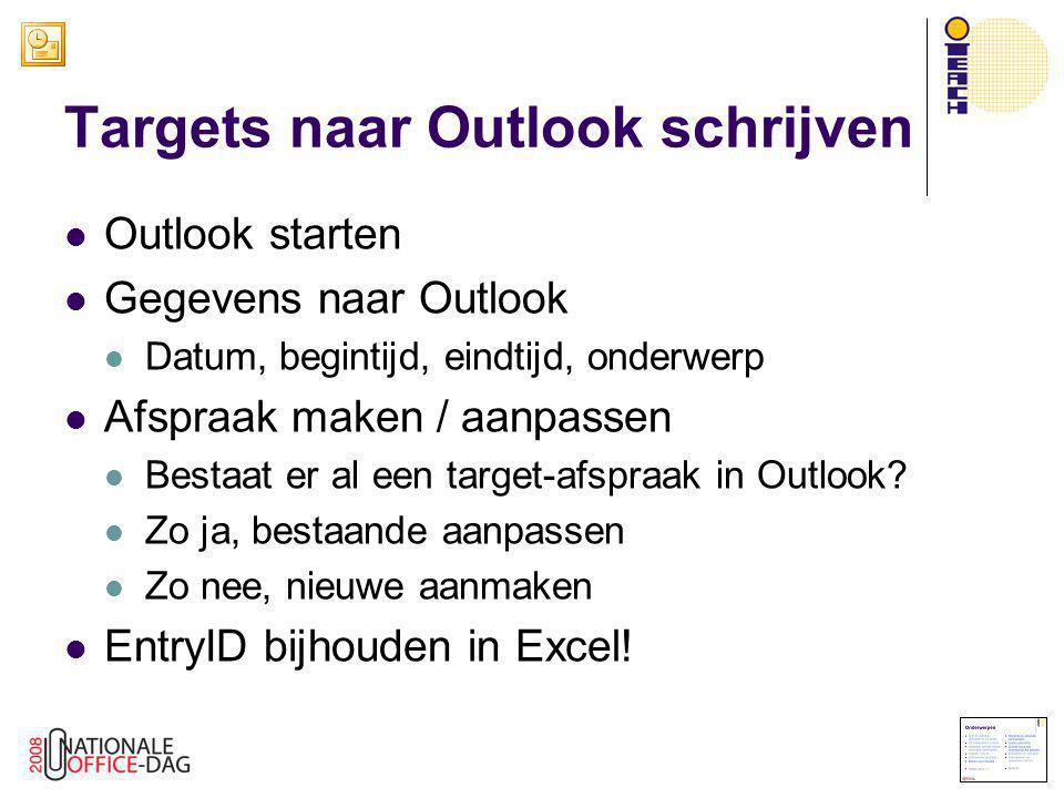  Outlook starten  Gegevens naar Outlook  Datum, begintijd, eindtijd, onderwerp  Afspraak maken / aanpassen  Bestaat er al een target-afspraak in