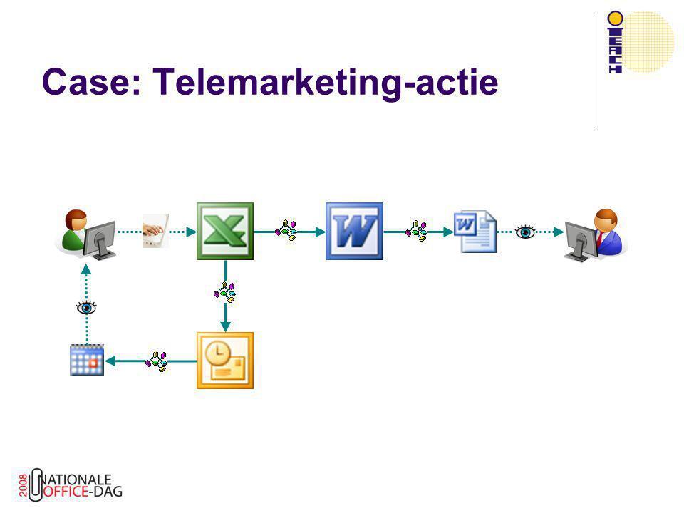 Class Modules  OutlookAgenda class  Eenvoudig afspraken beheren vanuit VBA  Zoeken, maken, wijzigen, verwijderen  Gebruik makend van UserProperty  Client-code vereenvoudigd: Dim age As OutlookAgenda Set age = New OutlookAgenda Call age.WijzigAfspraak(EntryID, …) Call age.VerwijderAfspraak(EntryID, …)