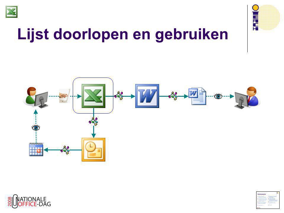 Targets naar Outlook schrijven  Start Outlook  Altijd maar één instantie van Outlook (al zijn meerdere vensters wel mogelijk)  Daarom geen GetObject nodig  Set olk = New Outlook.Application Set nsp = olk.GetNamespace( MAPI ) Set fld = nsp.GetDefaultFolder(…)  Gegevens naar Outlook  NieuwID = SchrijfTargetNaarOutlook(…)