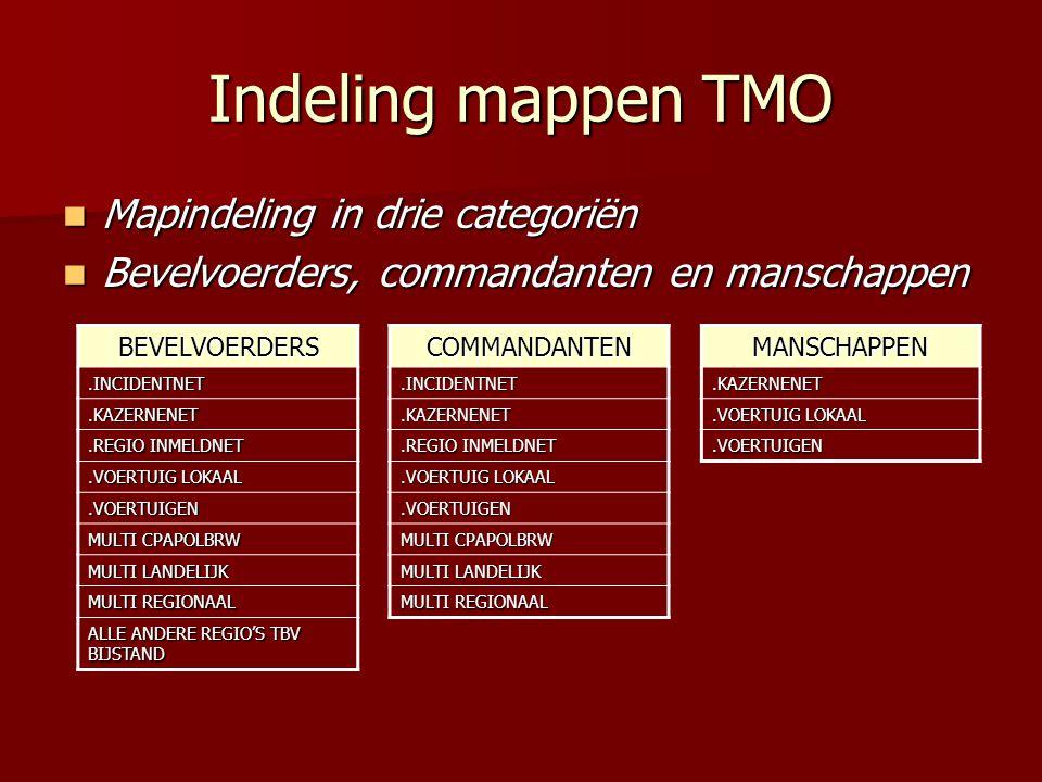Indeling mappen TMO  Mapindeling in drie categoriën  Bevelvoerders, commandanten en manschappen COMMANDANTEN.INCIDENTNET.KAZERNENET.REGIO INMELDNET.