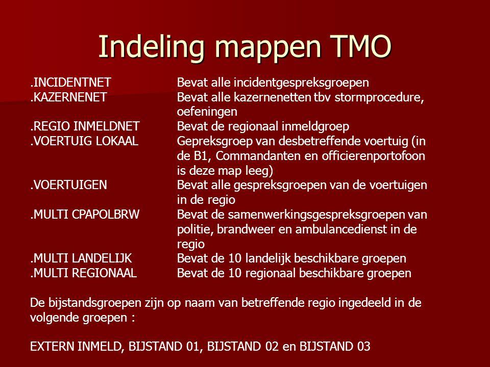 Indeling mappen TMO.INCIDENTNET Bevat alle incidentgespreksgroepen.KAZERNENET Bevat alle kazernenetten tbv stormprocedure, oefeningen.REGIO INMELDNET