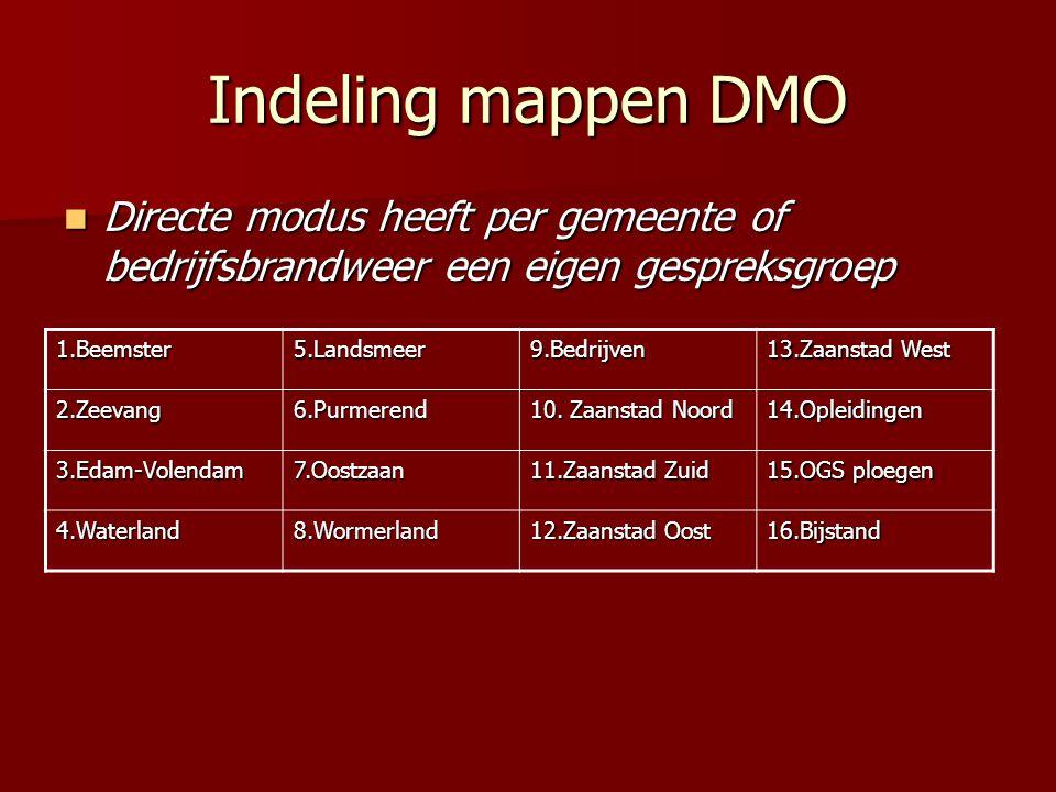 Indeling mappen DMO  Directe modus heeft per gemeente of bedrijfsbrandweer een eigen gespreksgroep 1.Beemster5.Landsmeer9.Bedrijven 13.Zaanstad West