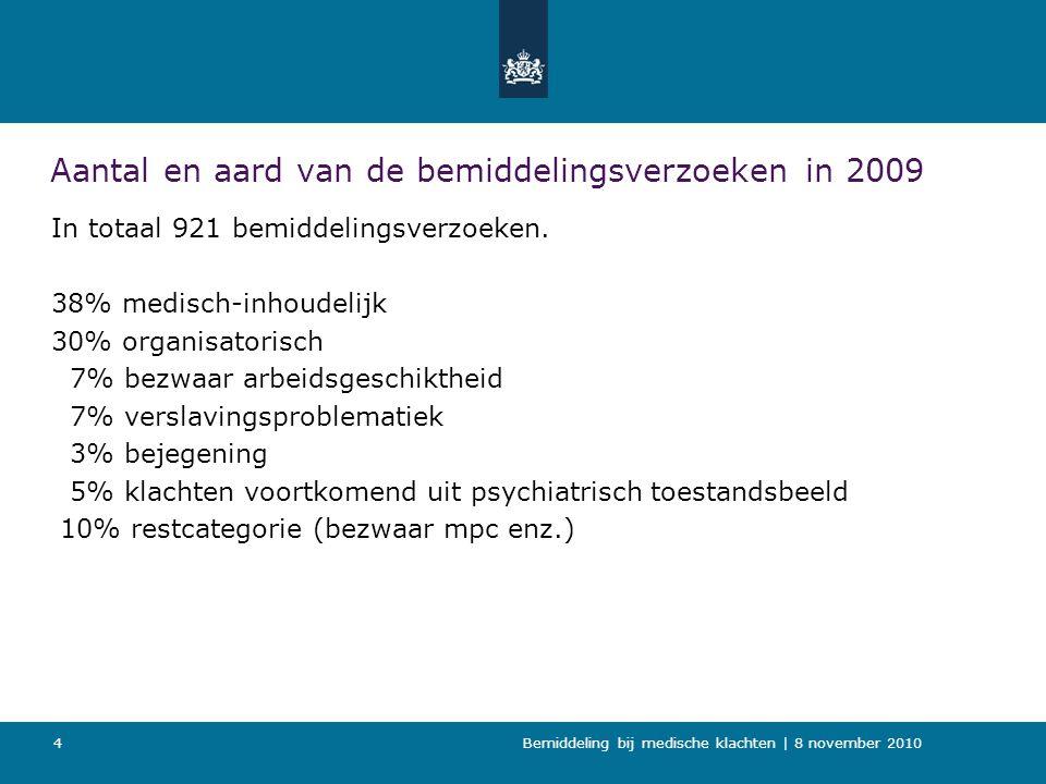 Bemiddeling bij medische klachten   8 november 2010 15 Gevolgen voor CvT Taak met aangepaste werkwijze Toename aantal organisatorische klachten doordat het HMD deze rechtstreeks stuurt aan de CvT.