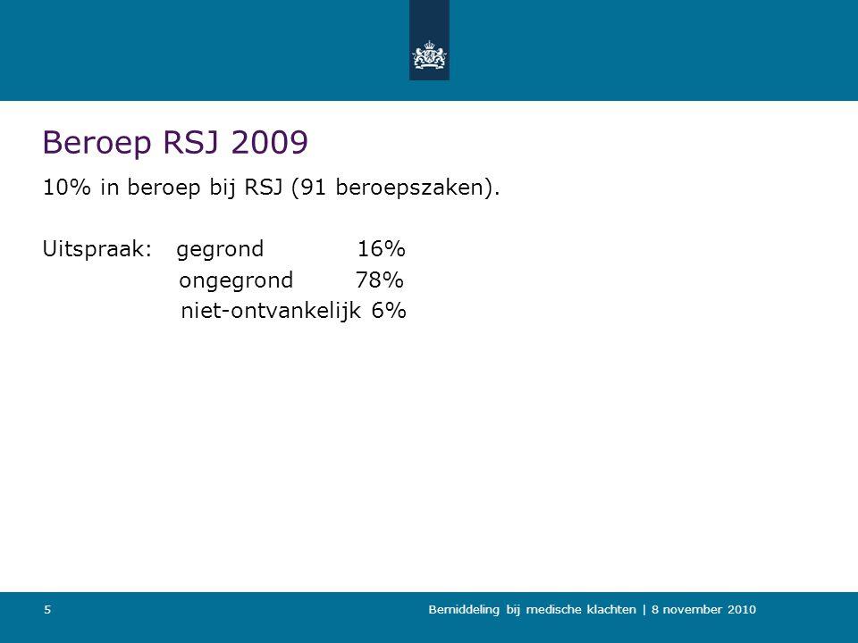 Bemiddeling bij medische klachten   8 november 2010 6 Brief RSJ n.a.v.