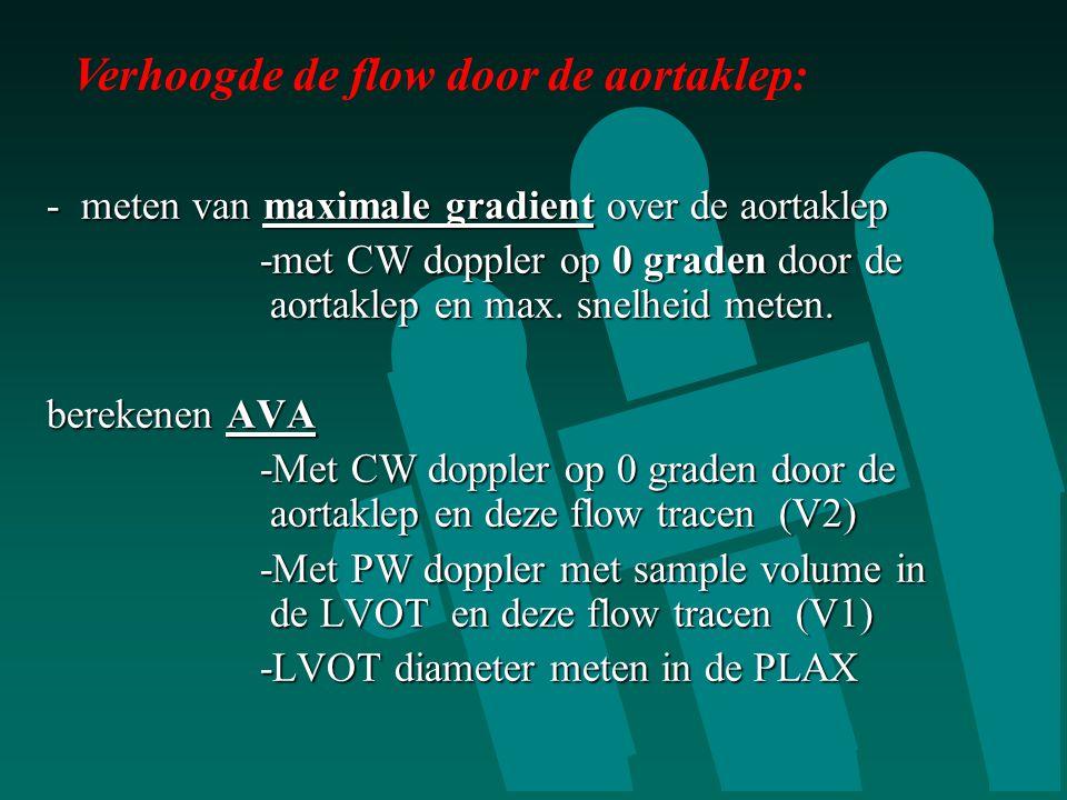 - meten van maximale gradient over de aortaklep -met CW doppler op 0 graden door de aortaklep en max. snelheid meten. -met CW doppler op 0 graden door