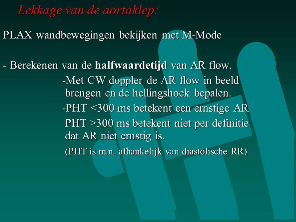 Lekkage van de aortaklep: PLAX wandbewegingen bekijken met M-Mode - Berekenen van de halfwaardetijd van AR flow. -Met CW doppler de AR flow in beeld b