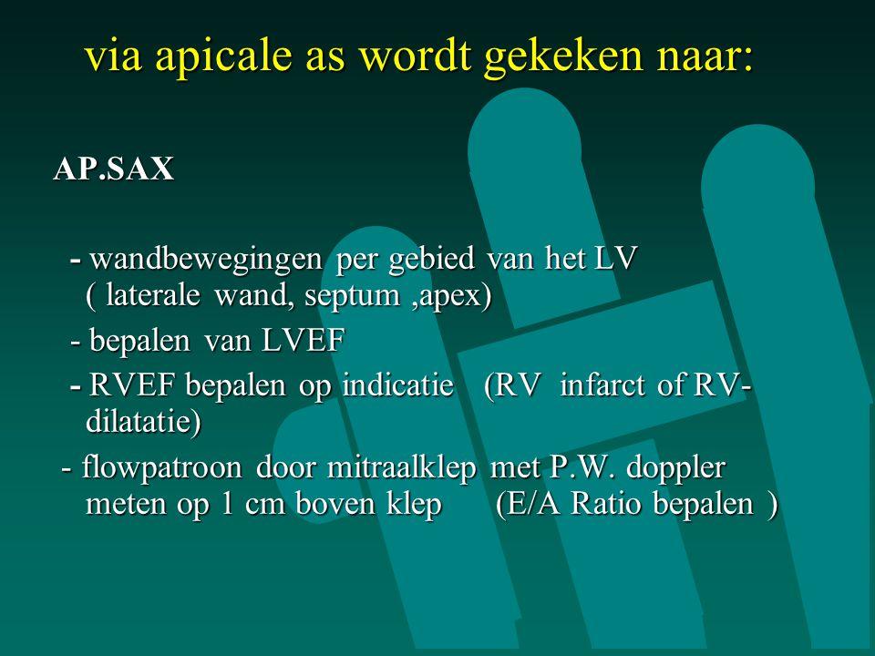 via apicale as wordt gekeken naar: AP.SAX - wandbewegingen per gebied van het LV ( laterale wand, septum,apex) - wandbewegingen per gebied van het LV ( laterale wand, septum,apex) - bepalen van LVEF - bepalen van LVEF - RVEF bepalen op indicatie (RV infarct of RV- dilatatie) - RVEF bepalen op indicatie (RV infarct of RV- dilatatie) - flowpatroon door mitraalklep met P.W.