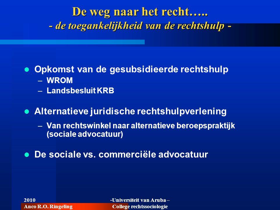 De weg naar het recht…..- de toegankelijkheid van de rechtshulp - De sociale vs.